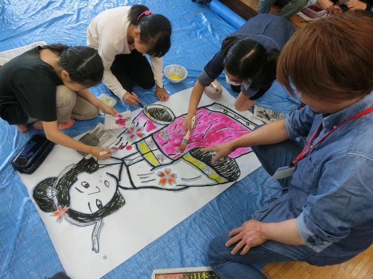 第4回尾島小学校ねぷた指導
